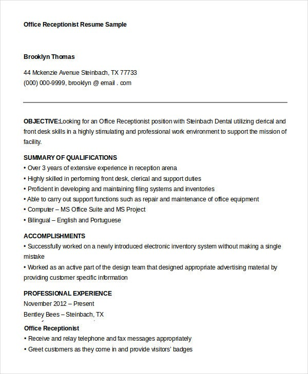 receptionist resume example 9 free word pdf documents download - Chiropractic Resume