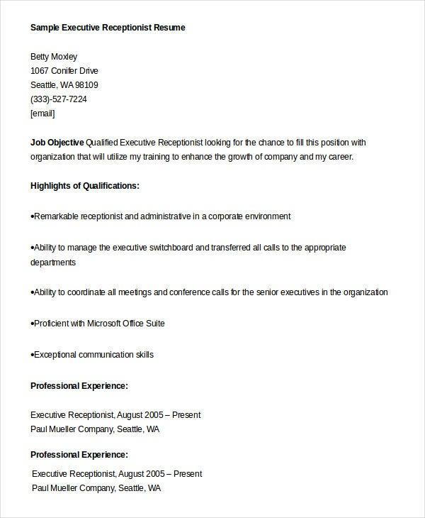 sample executive receptionist resume