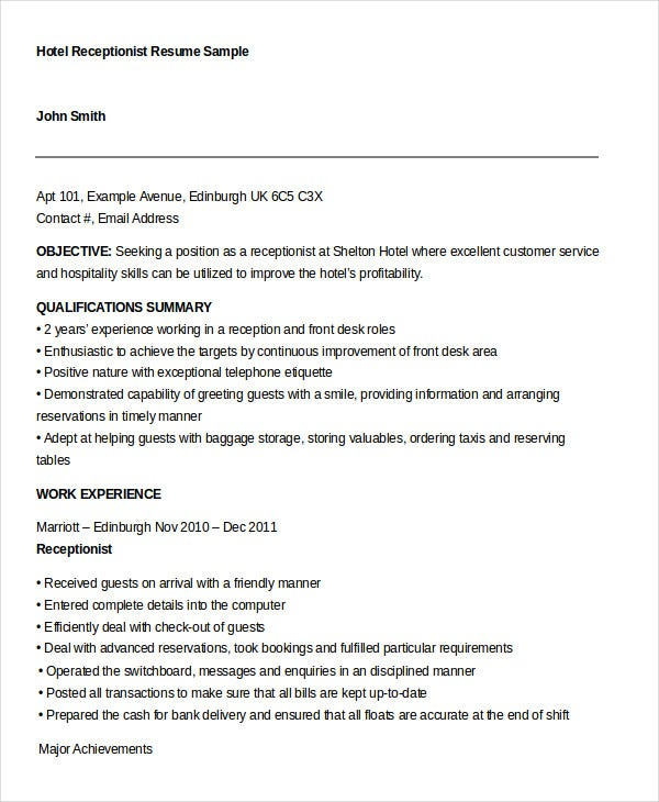 receptionist resume templates pdf doc free premium templates - Sample Resume Format For Hotel Receptionist