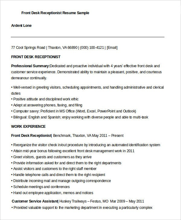 front desk receptionist resume - Front Desk Receptionist Resume Sample