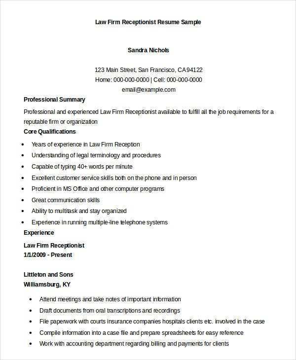 Receptionist Resume Example   Free Word Pdf Documents Download