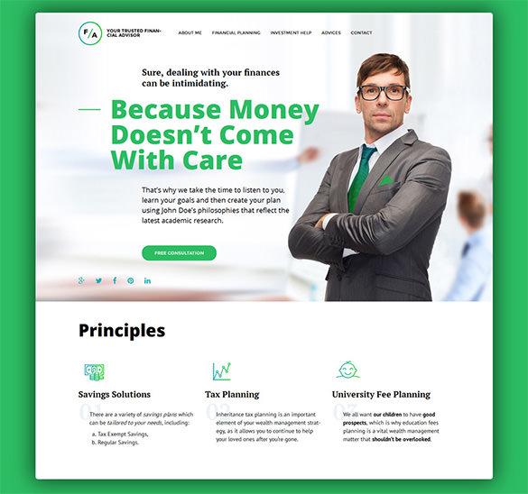 responsive wordpress theme for financial advisor