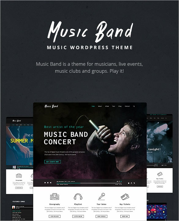 wordpress theme for live music band