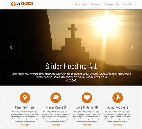 beautiful church bootstrap blog template