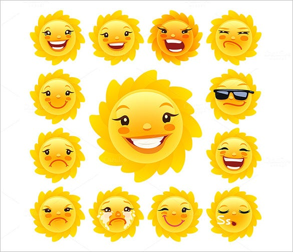 cartoon sun character vectors