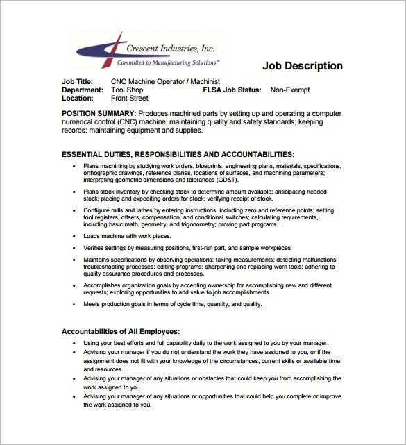 Machine Operator Job Description Template – 10+ Free Word, PDF ...