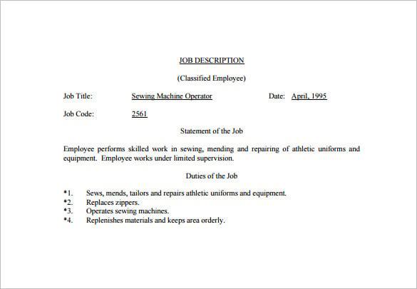 resume for machine operators