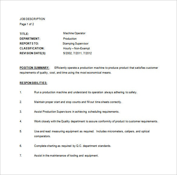 machine operator job description template