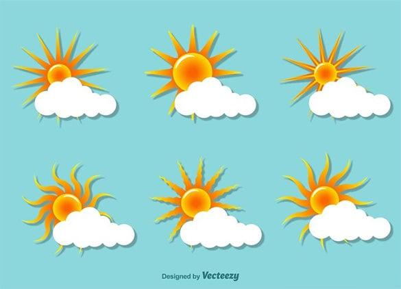 sunset flat vector illustrations