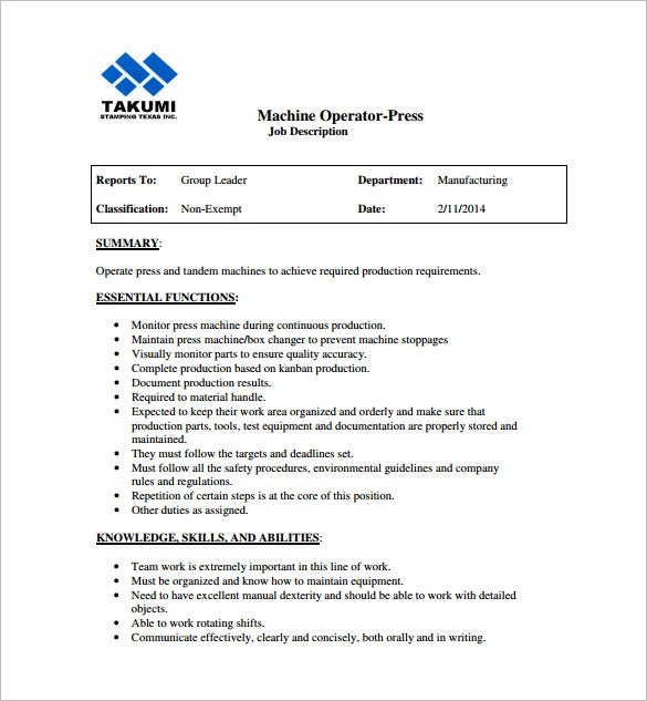 machine operator job description templates