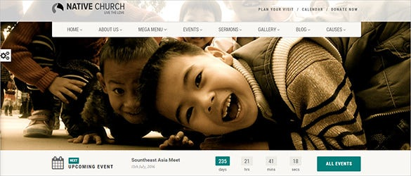 native responsive church blog theme