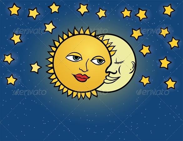 sun moon vector illustration