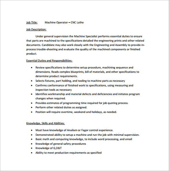 Machine Operator Job Description Templates - 11+ Free Sample