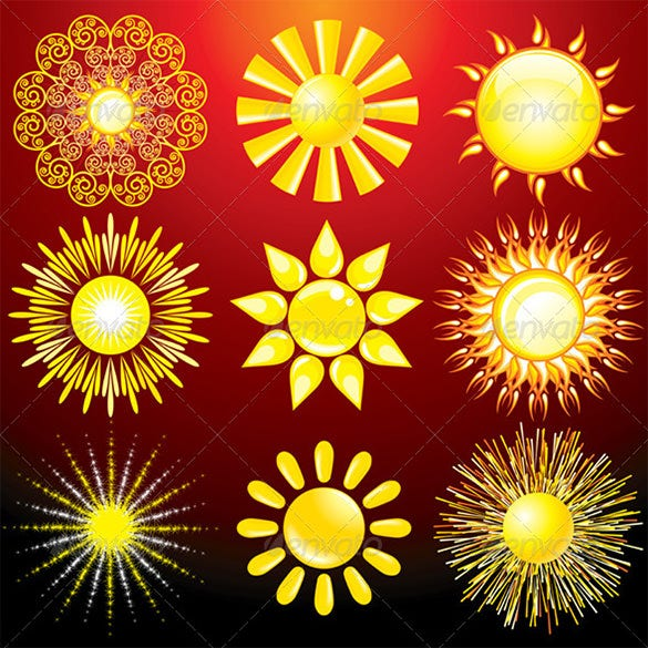 decorative sun vector set