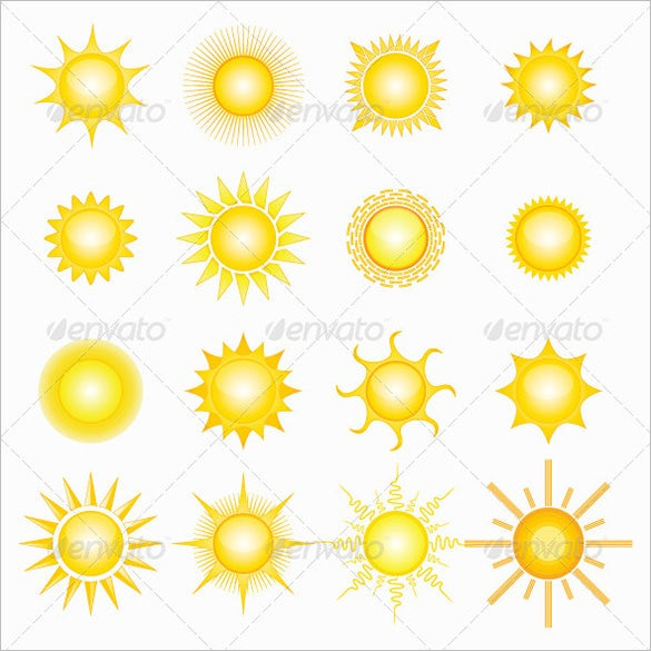 16 premium vector suns for you