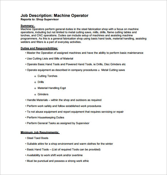 Machine Operator Job Description Template   Free Word Pdf