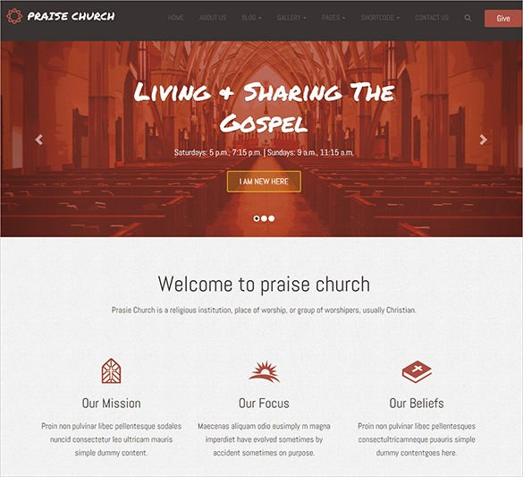 beautiful church bootstrap template