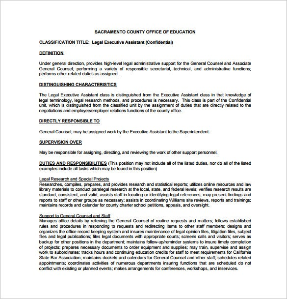 Legal Assistant Job Description Template   Free Word Pdf