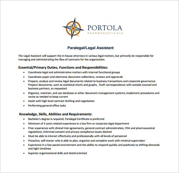 paralegal legal assistant job description free pdf template