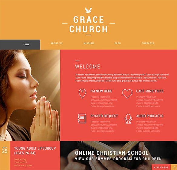 colorful bootstrap church theme