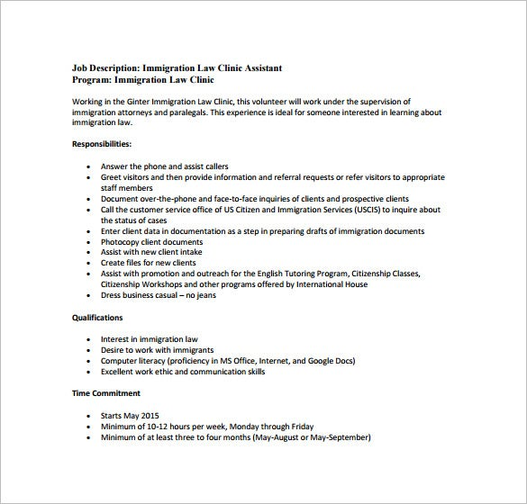 13+ Legal Assistant Job Description Templates