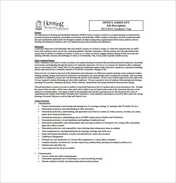 free legal office assistant job description sample template free download