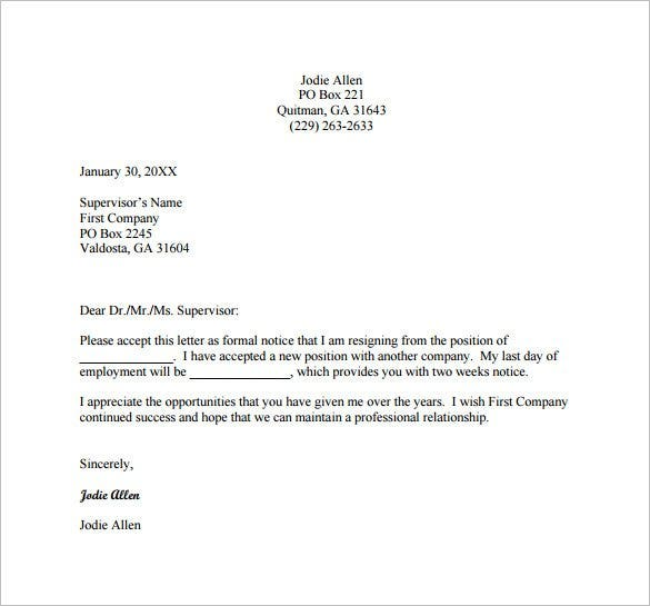 Resignation Letter Templates - 16+ Free Sample, Example, Format ...