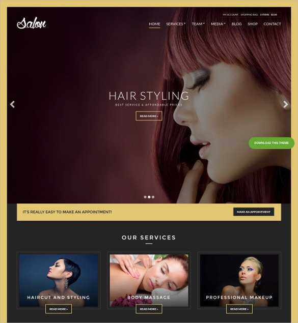 Beauty Salon WordPress Blog Template