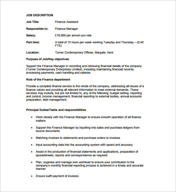 financial assistant job description skylogic template job description