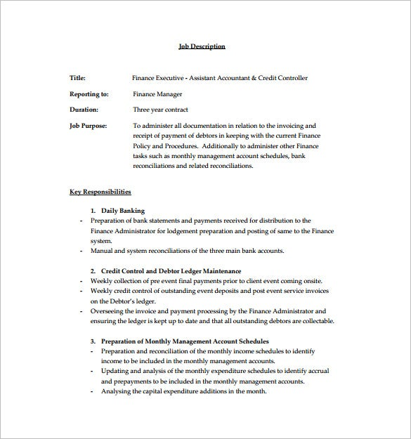 executive financial assistant job description free pdf download