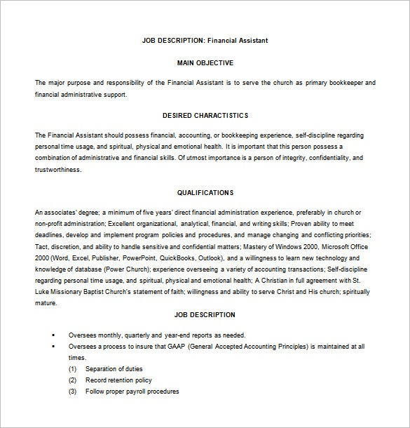 financial assistant job description for church free word download