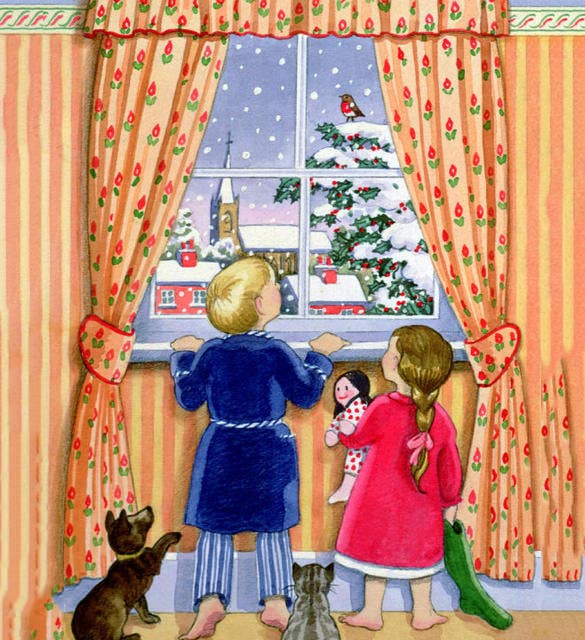 kids seeing the snow from window painting