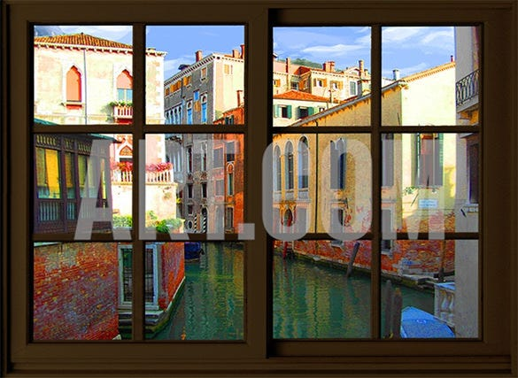 painting of beautiful venice from the window