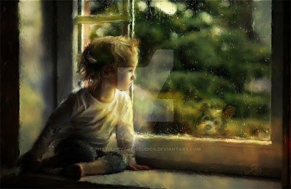 kid sitting sad at the window painting