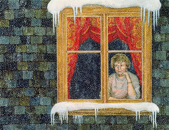 excellent holiday window painting in snow
