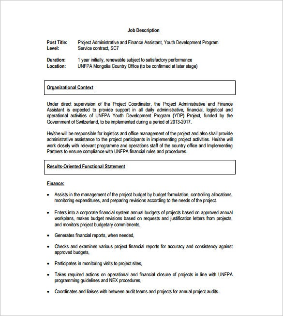project financial assistant job description free pdf download