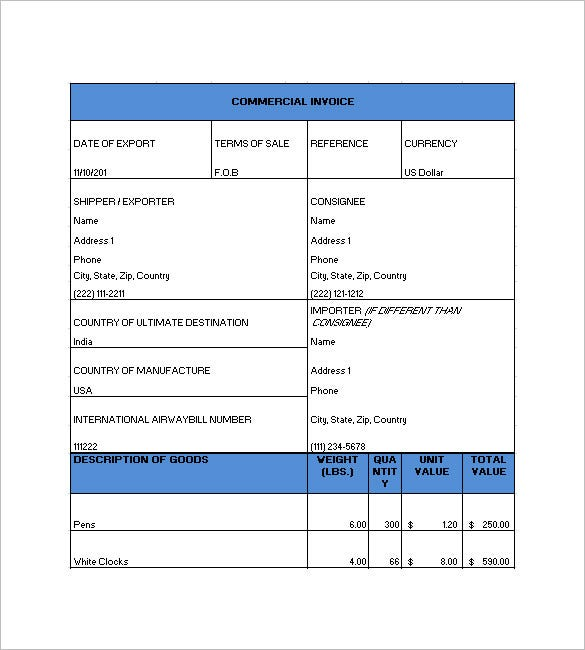 Commercial Invoice Template 6 Free Sample Example Format – Commerical Invoice Template