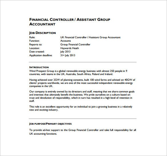 free financial controller assistant job description pdf download
