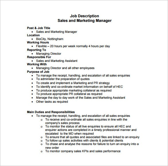 Marketing manager job description template 9 free word for Creating a job description template