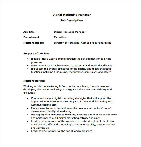 digital marketing manager job description free pdf download