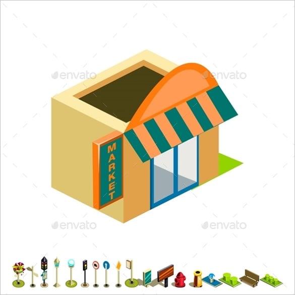 vector isometric market building