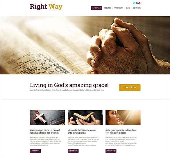 premium wordpress church php template