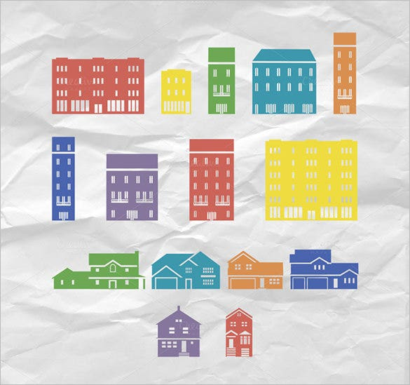 15 abstract buildings vector template
