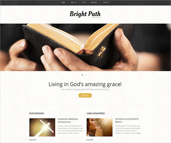 bright church wordpress php theme
