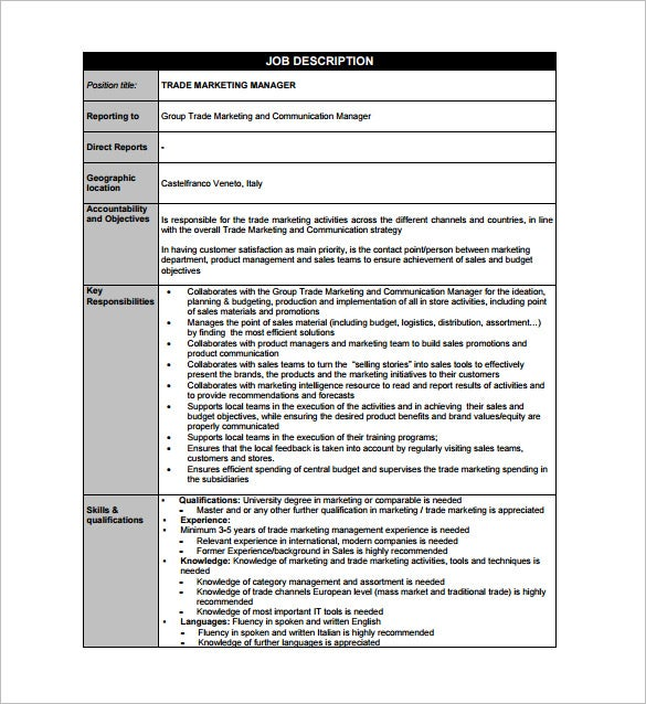 marketing manager job description template 9 free word pdf