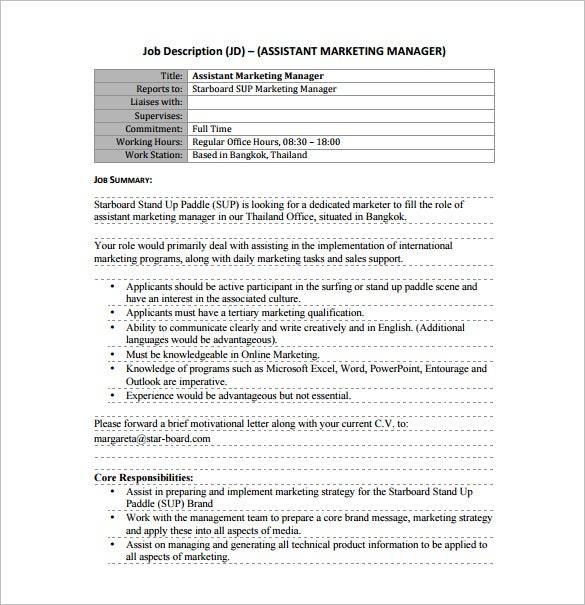 free assistant marketing manager job description pdf download