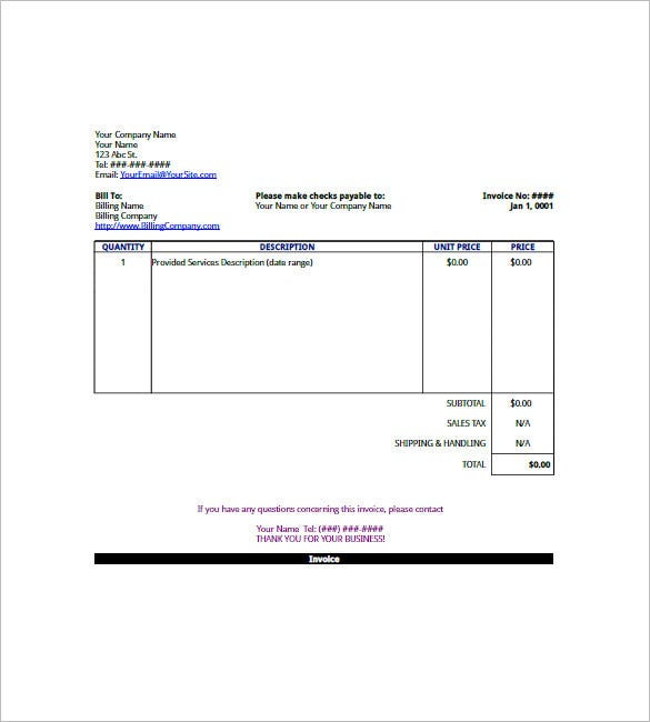 Sample Business Invoice Template  Business Invoices
