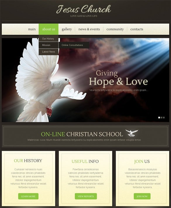 jesus church php wordpress theme