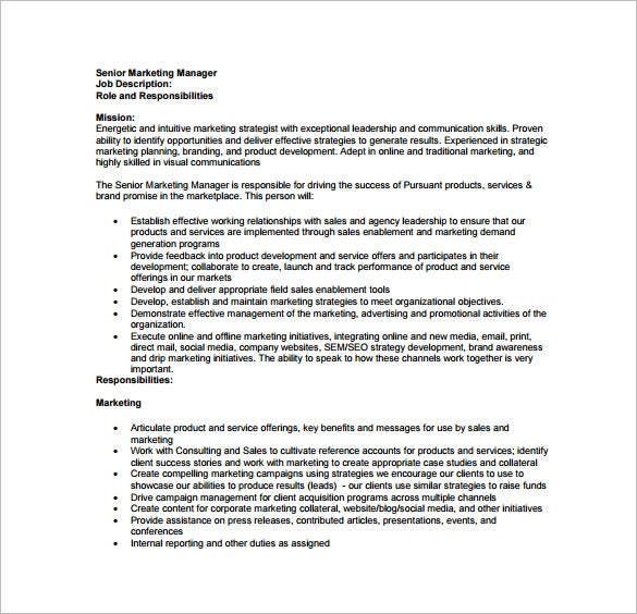 Sales Marketing Executive Job Description Job Performance