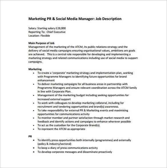 marketing manager job description for social media free pdf template